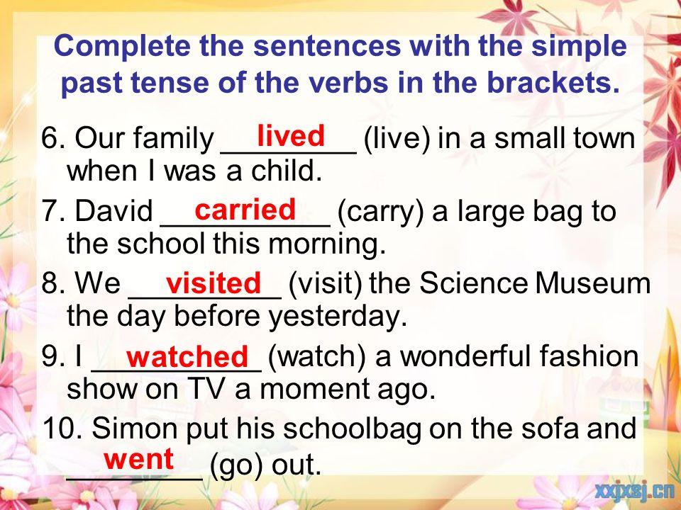 simple past tense text pdf
