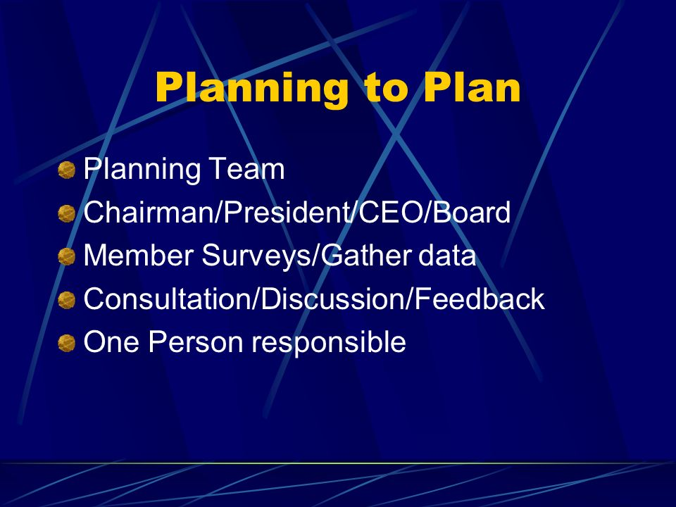 Planning to Plan Planning Team Chairman/President/CEO/Board
