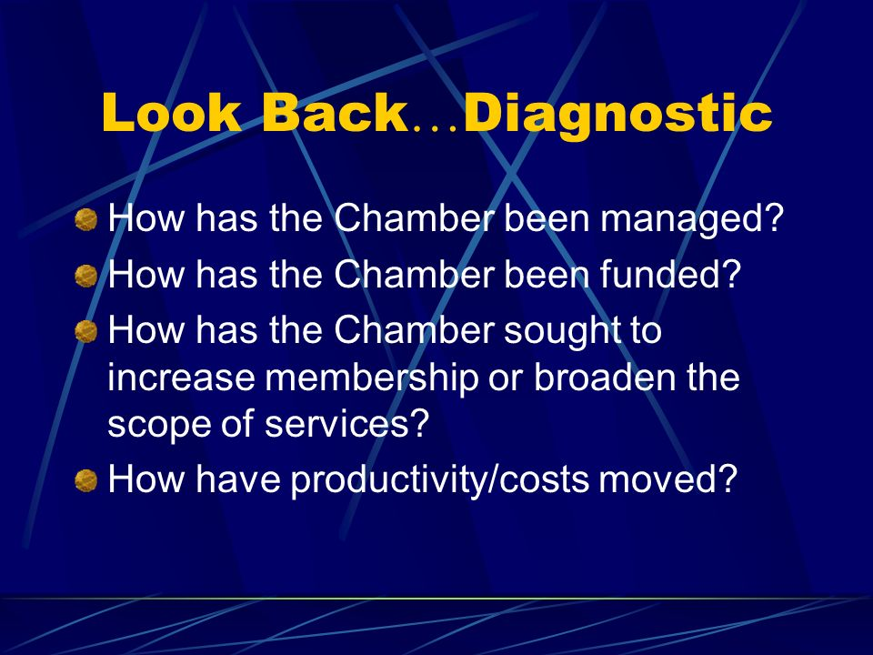 Look Back…Diagnostic How has the Chamber been managed