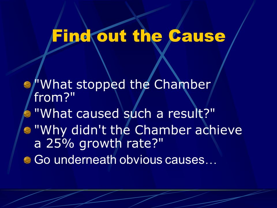 Find out the Cause What stopped the Chamber from