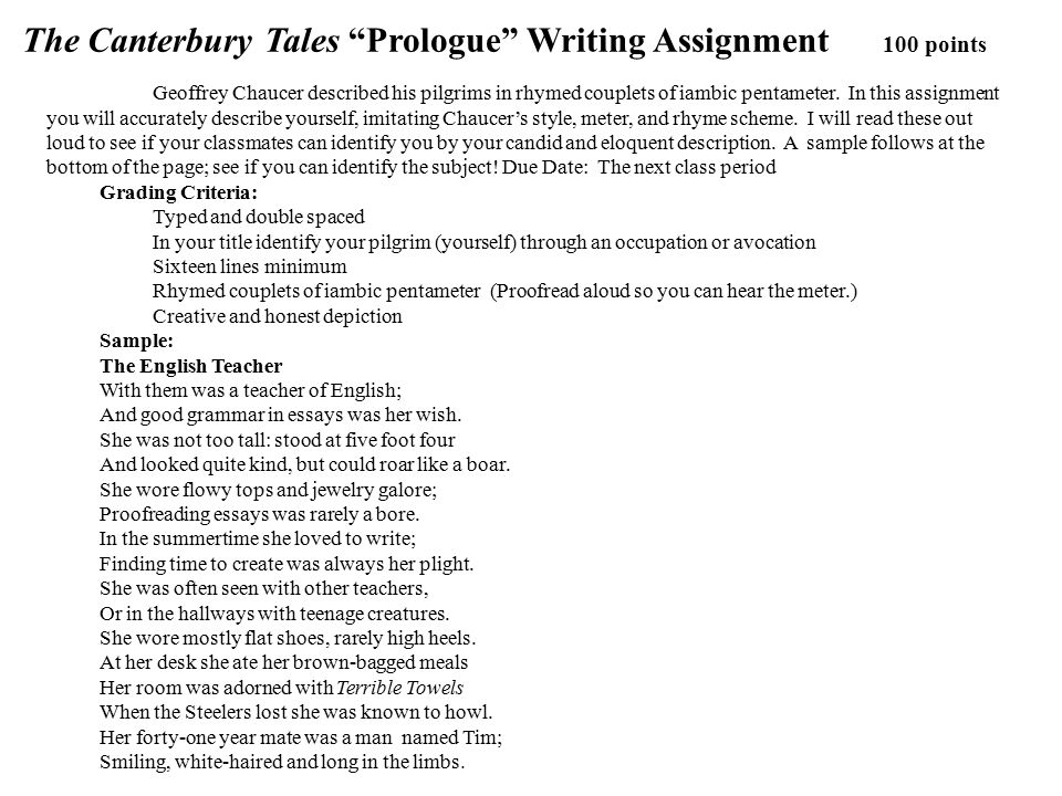 characterization essay on the canterbury tales Everything you ever wanted to know about tools of characterization in the canterbury tales: general prologue & frame story, written by masters of this stuff just for you.
