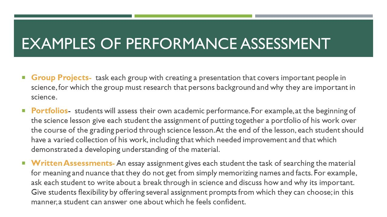 portfolio assessment essay