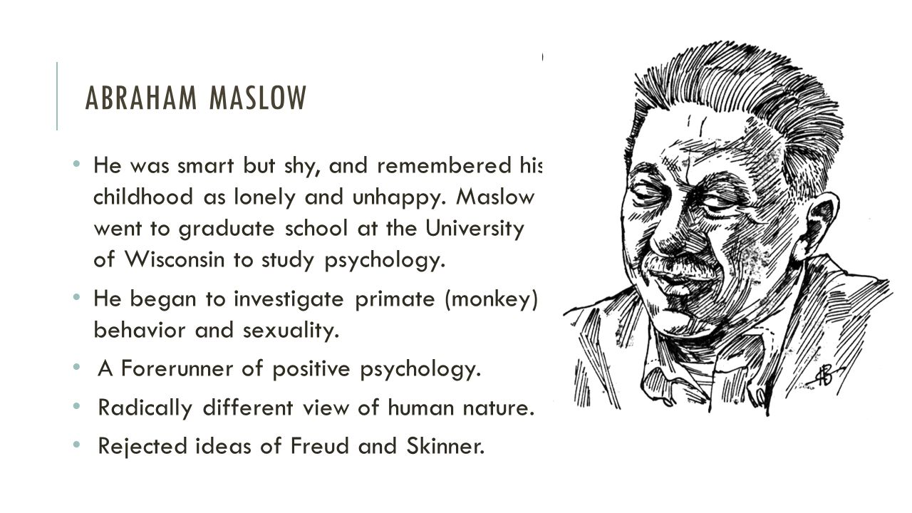 abraham maslow case study Abraham maslow is well renowned maslow's hierarchy of needs theory abraham maslow is well the theory is not applicable in case of starving artist.
