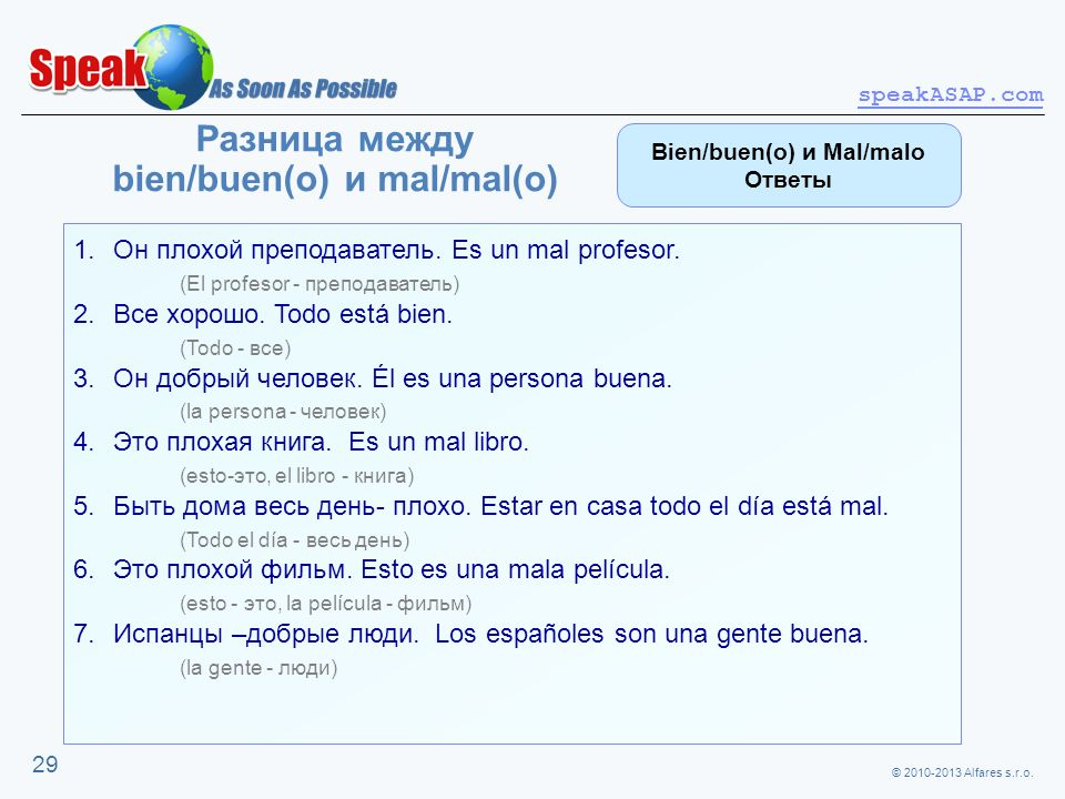 Разница между bien/buen(o) и mal/mal(o)