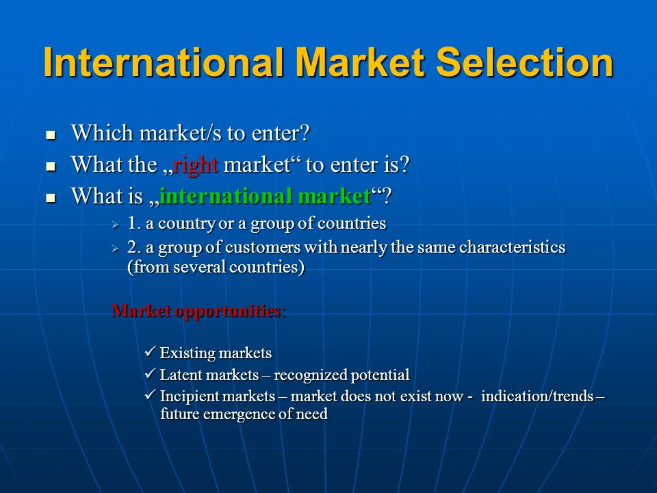 international market selection of lindex It is a multiple-case study where the focus is on the international market selection process of lindex and indiska magasinet through literature studies and interviews with foreign expansion managers at these companies as well as two other key players with attachment to the subject, i have increased my knowledge within this area.