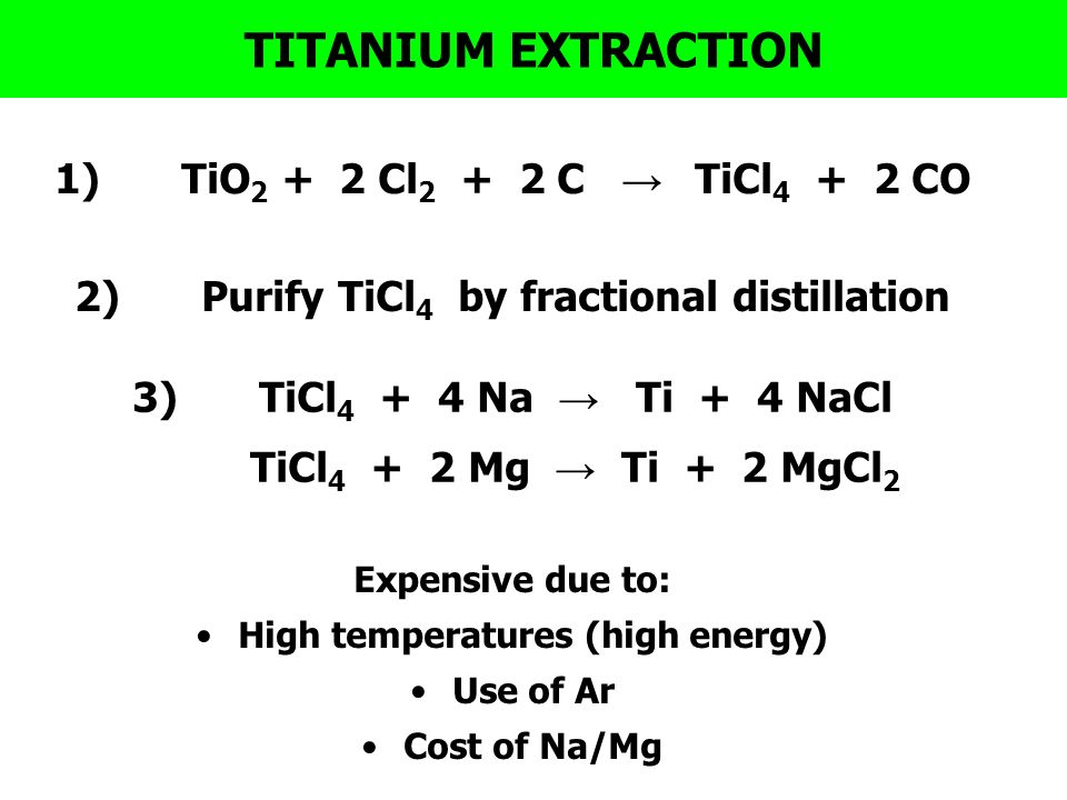 titanium extraction Ilmenite is the most important ore of titanium mining with the chemical formula fe-ti-o3 (iron, titanium and oxygen), named for its place of discovery at ilmen lake in the ilmen mountains, miask in the southern portion of the ural mountains of russia.