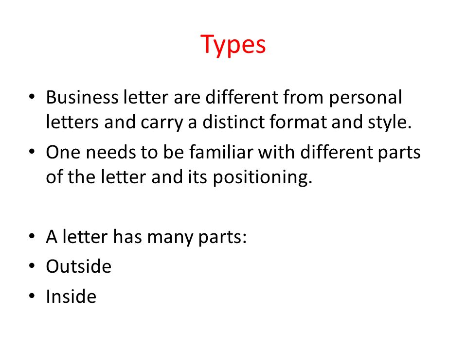 Parts of business letter ppt video online download