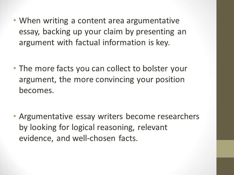 argumentative essay immersion ppt video online  the more facts you can collect to bolster your argument the more convincing your position becomes argumentative essay writers become researchers by