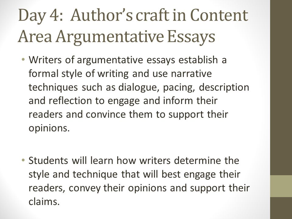 writing techniques for argumentative essays While drafting a literary analysis essay (or another type of argument) of their own, students work in pairs to investigate advice for writing conclusions and to analyze conclusions of sample essays they then draft two conclusions for their essay, select one, and reflect on what they have learned through the process.