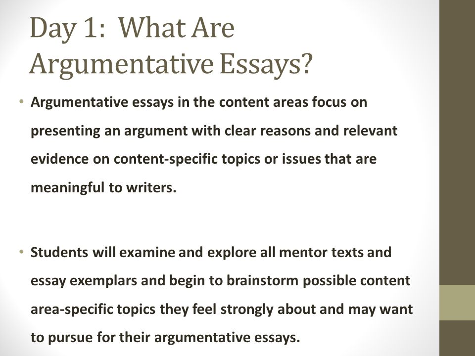 argumentative essay immersion ppt video online  day 1 what are argumentative essays