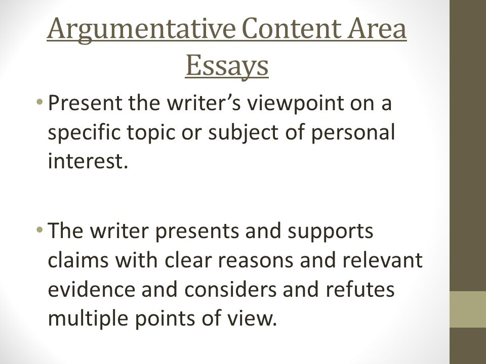good subjects for argument essays
