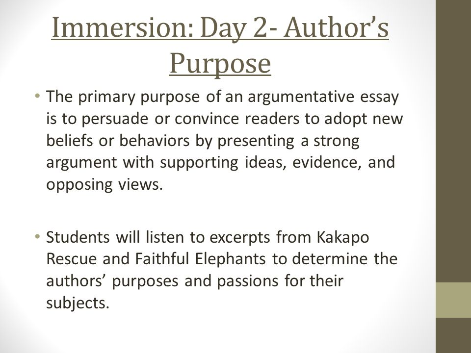authors purpose essay example Facts and examples presented objectively are clues that the author's purpose is to inform newspaper editorials and articles from special interest magazines are often written to persuade essays, fiction, and some personal interest stories in periodicals are written to entertain.