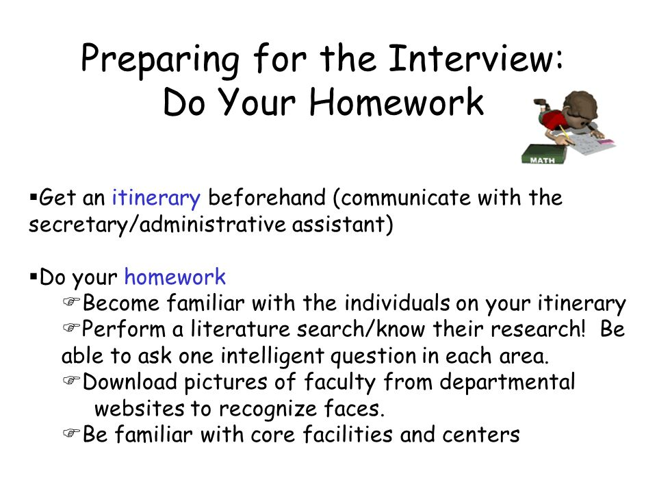 That first faculty position interview preparation and etiquette preparing for the interview do your homework sciox Images