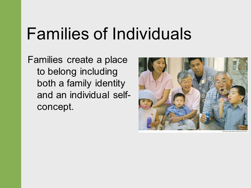 """individualism and belonging to the family In individualist societies people are supposed to look after themselves and their   this means that the """"we"""" is important, people belong to in-groups (families,."""