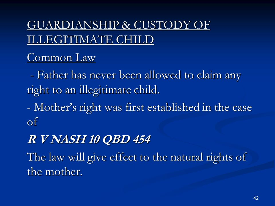 "rights and status of illegitimate child Modern law in california and most states have largely eliminated the distinction between legitimate and illegitimate children, but it can still be an issue in some probate the law states that a natural child of a deceased individual has the right to inherit ""regardless of the marital status"" of the parents while it."
