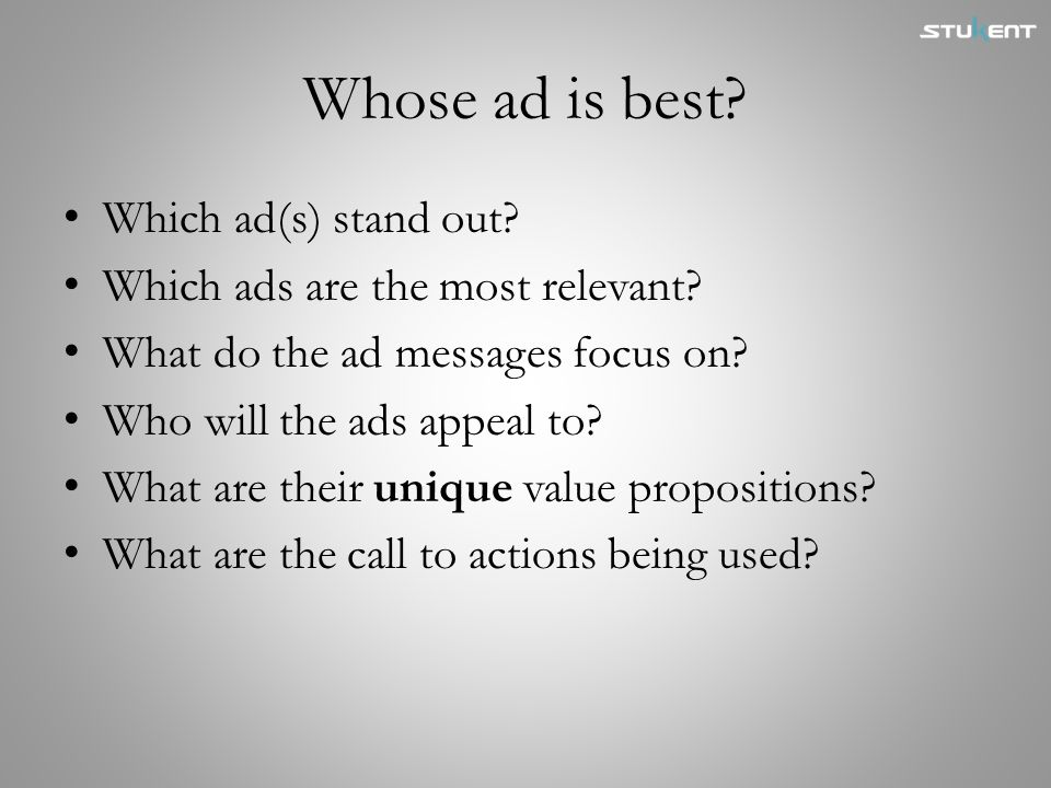 Whose ad is best Which ad(s) stand out
