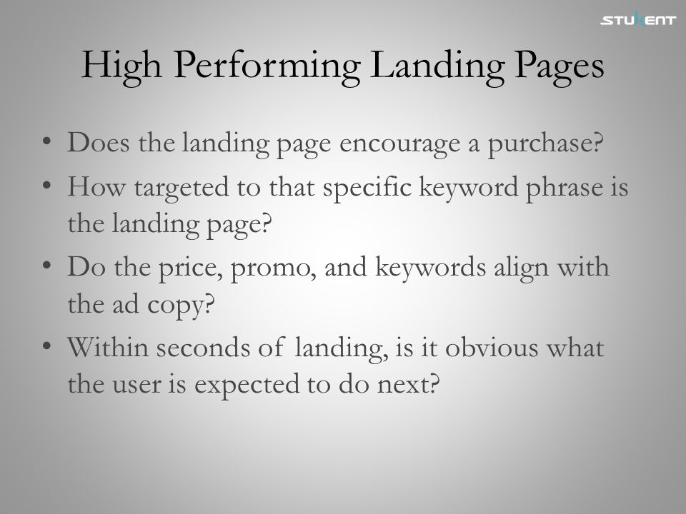 High Performing Landing Pages