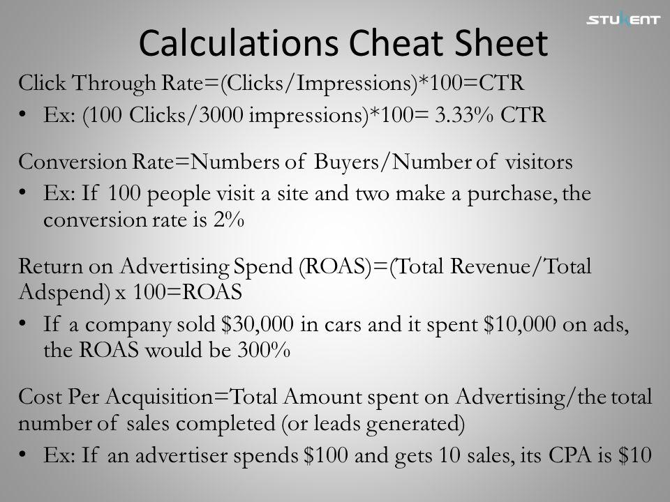 Calculations Cheat Sheet
