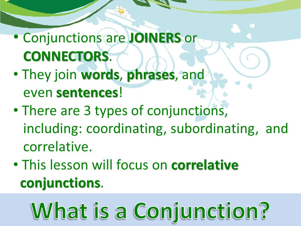 Sentence and conjunctions correlative conjunctions