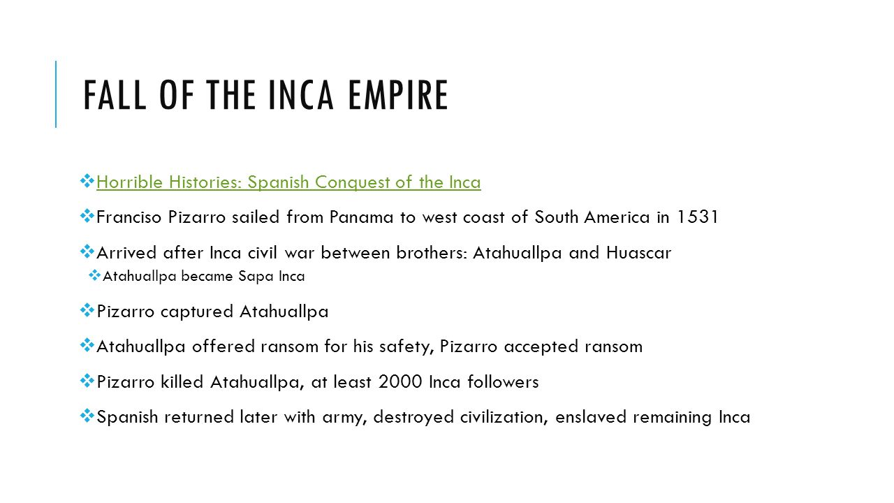 spanish conqest of inca empire Defeat of the inca empire conquistador  how such a successful society was  subdued by spanish conquistadors hungry for the inca empire's treasures.