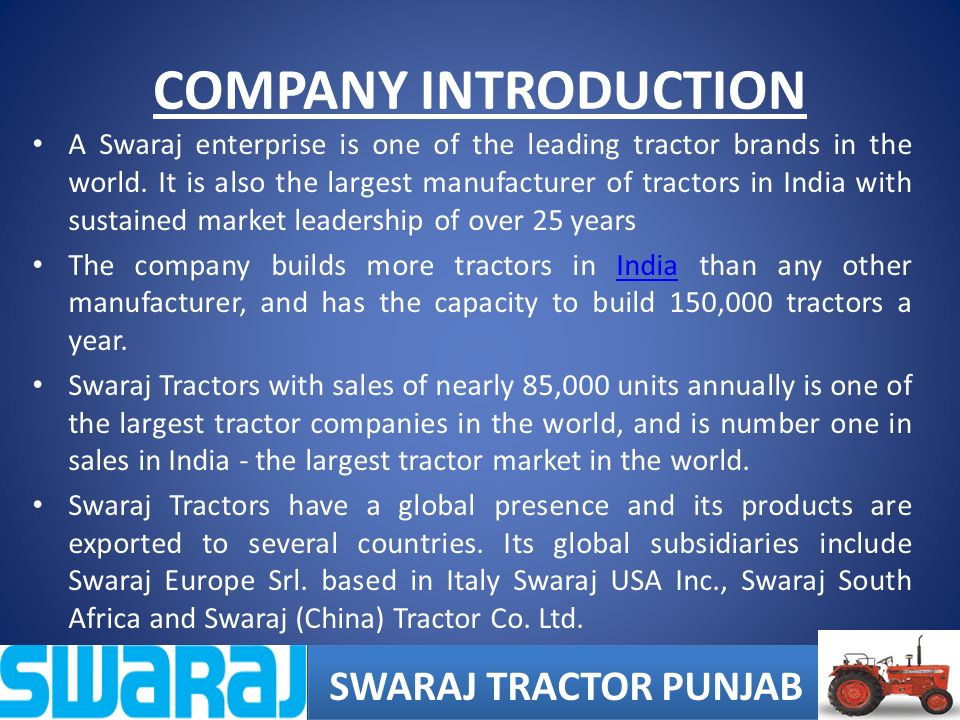 Summer internship at swaraj tractors ppt video online for Architecture firms for internship in india