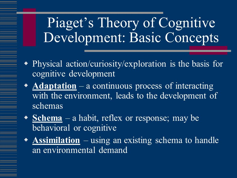 piagets theories This is the first of the four stages in piaget's theory of cognitive development (1954, 1964) it extends from birth to approximately 2 years, and.