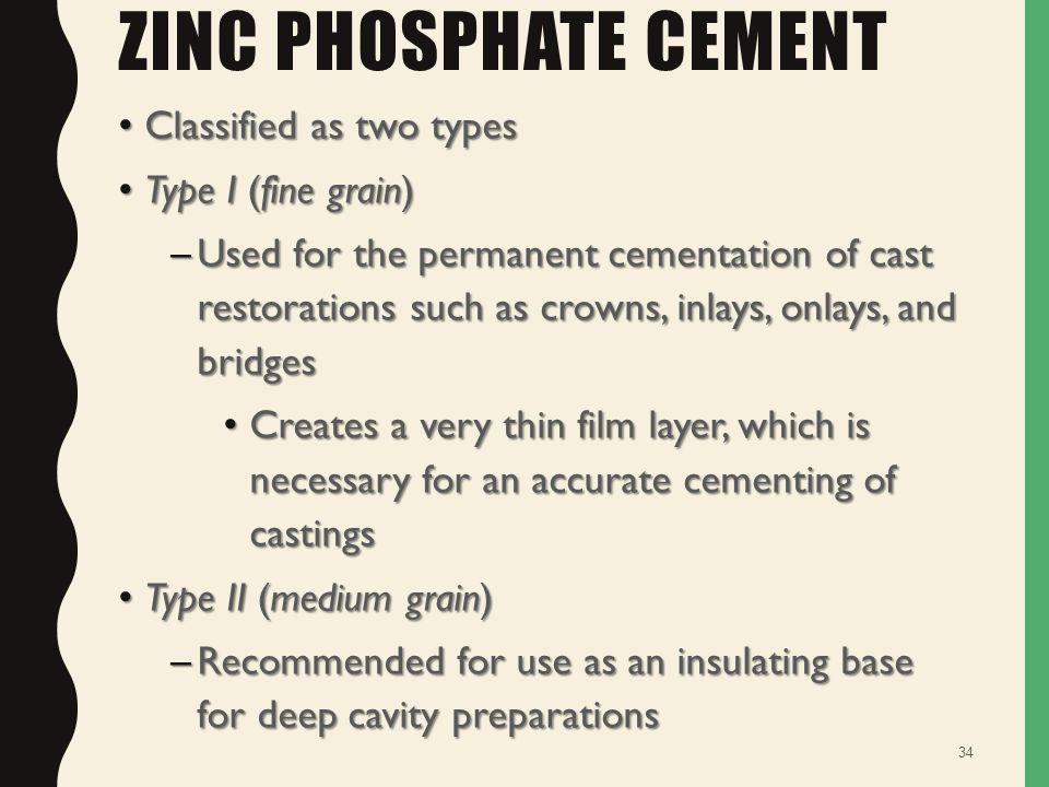 zinc phosphate cement Zinc phosphate cement, a very high strength permanent cement, light yellow packaging: 32g powder bottle, 175ml liquid bottle, measuring scoop, mixing pad.