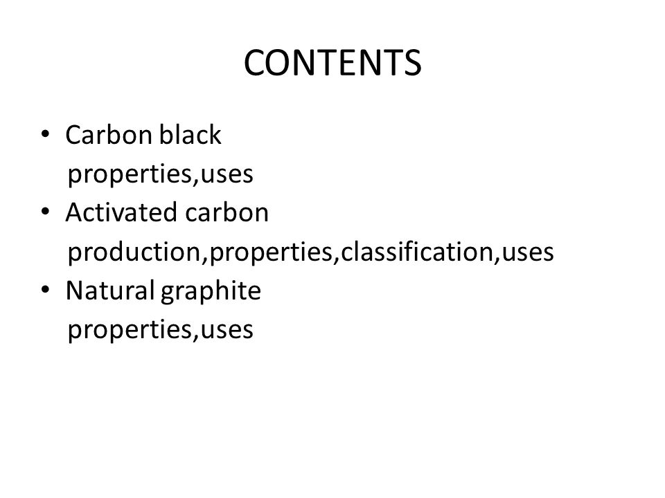 Intro to activated carbon carbon black natural graphite ppt contents carbon black propertiesuses activated carbon sciox Images