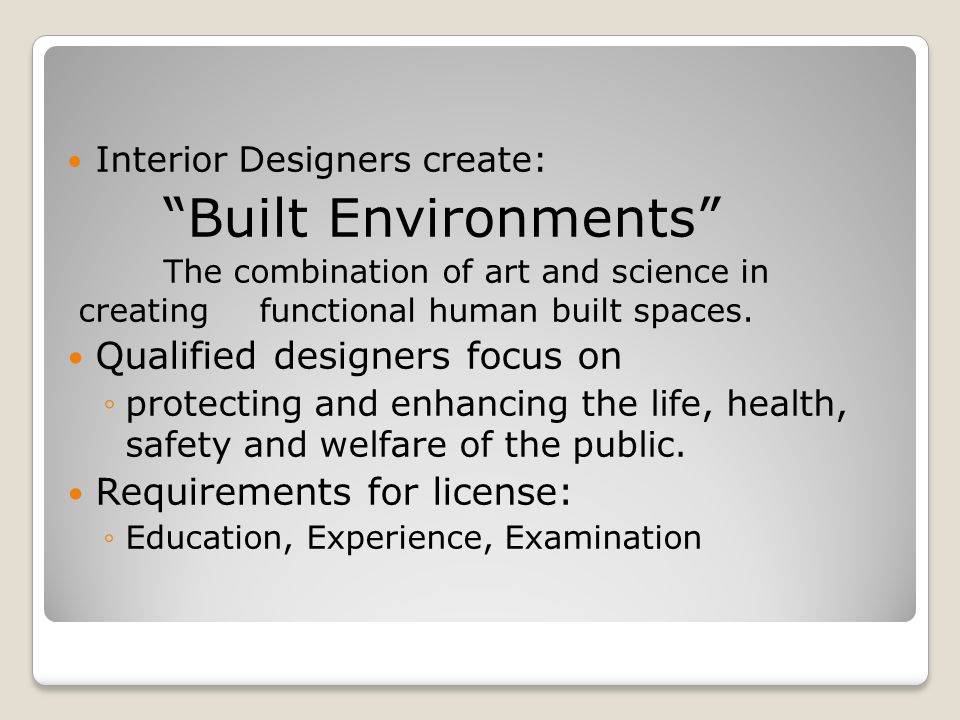 Built Environments Qualified Designers Focus On