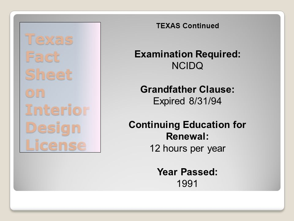 Amazing Texas Fact Sheet On Interior Design License