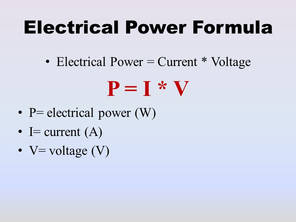 Electrical power formula