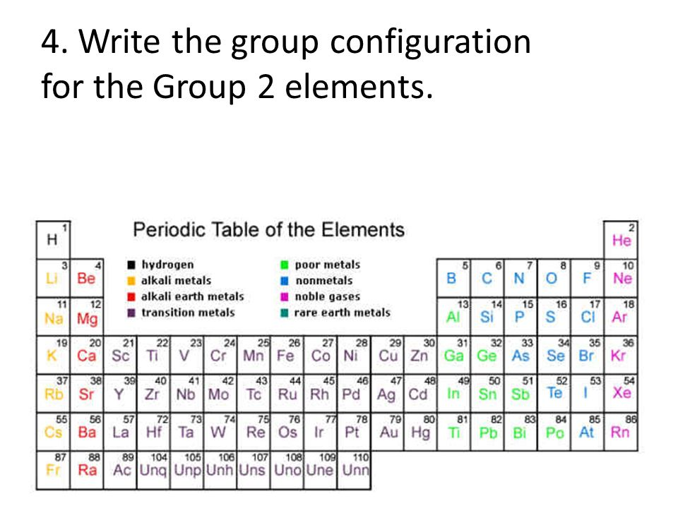 write the group configuration for the group 2 elements - Periodic Table Of Elements Group 2