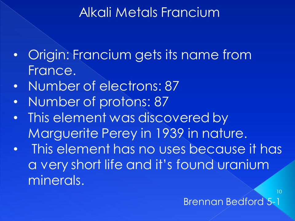 francium and the alkali metals coursework Firstly, before we find out the properties of alkali metals, we need to know what they actually are an alkali metal is located in group 1 on the periodic table which includes (top to bottom) lithium, sodium, potassium, rubidium, caesium and francium although on some periodic tables hydrogen is found in group 1 with the.