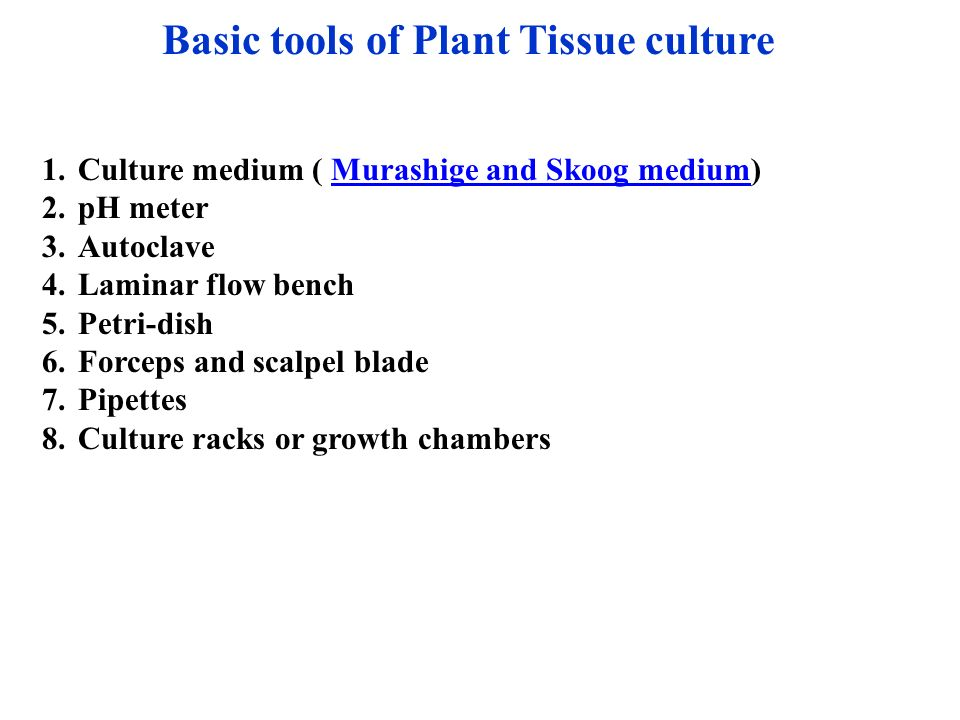 Welcome to plant tissue culture ppt video online download for Basic tools for planting