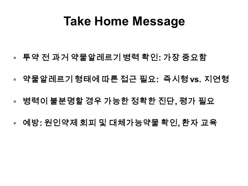 Take Home Message 투약 전 과거 약물알레르기 병력 확인: 가장 중요함
