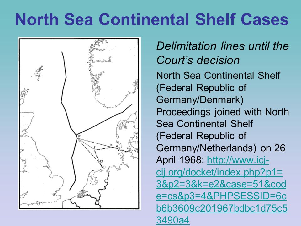 north sea continental shelf case This contribution discusses the judgment of the international court of justice in the north sea continental shelf cases between denmark and the netherlands on t.