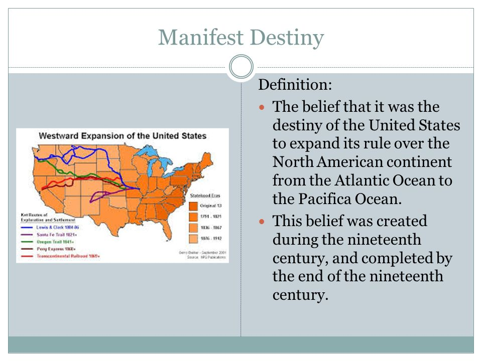 the importance of manifest destiny during american colonization As the spanish empire crumbled, america moved in for the kill, literally  cuba  was one of spain's remaining colonial possessions in the new world  cuba  was just a small part of this important official's vision  flush with a notion of  manifest destiny and a feeling of cultural superiority, they welcomed the  opportunity to.