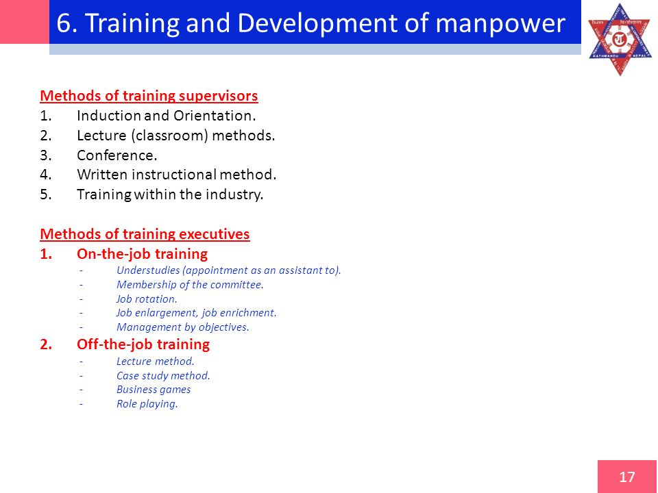 training and manpower development To download manpower training and development as a tool for enhancing employee performance in organization complete project materials, follow the.