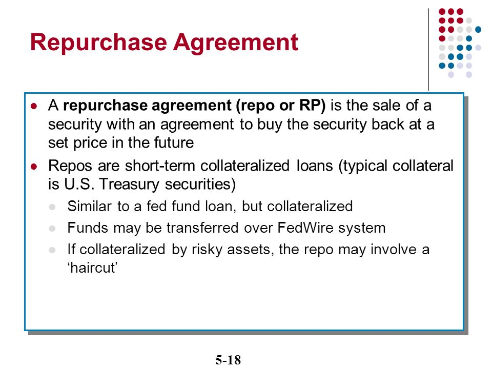 Repurchase agreement homework writing service the fed uses repurchase agreements also called rps or repos to make collateralized loans to primary dealers in a reverse repo or platinumwayz