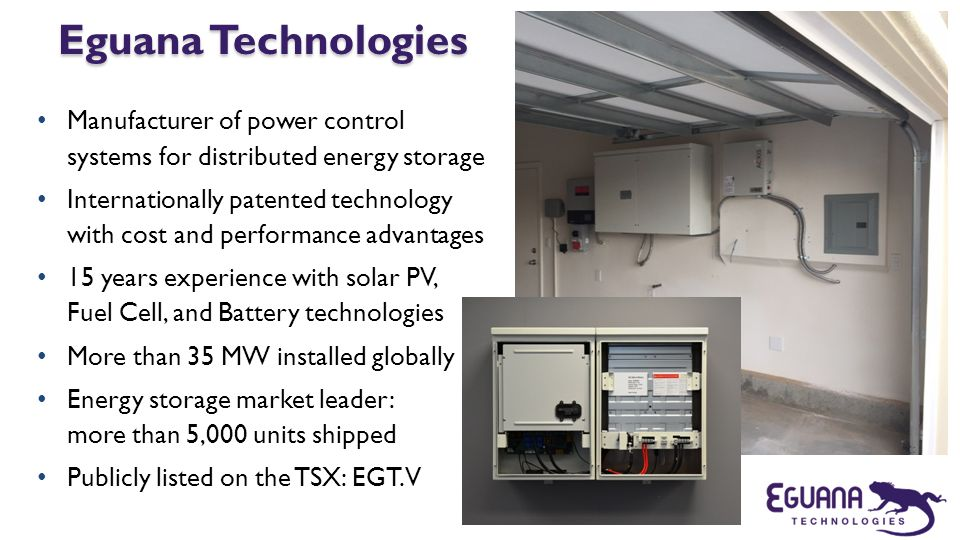 Eguana Technologies Manufacturer of power control systems for distributed energy storage.