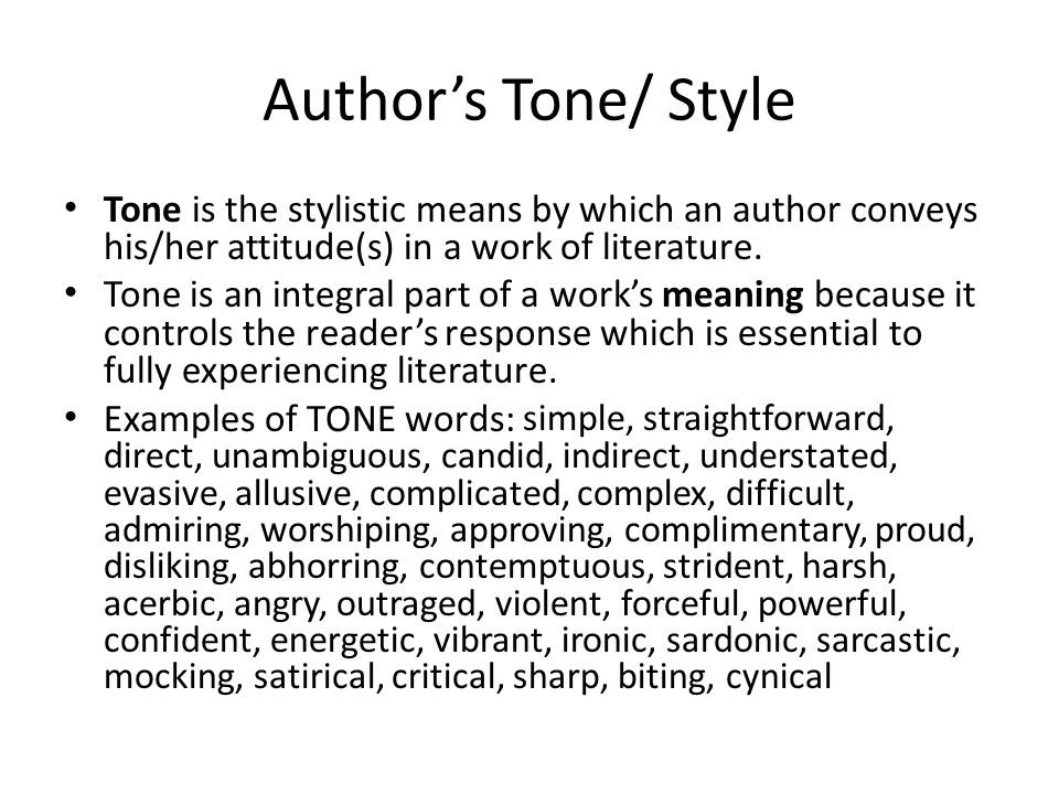 the importance of tone in literary works This hub provides definitions and examples of various literary devices designed  may work to an author's  door to the importance of imagery in writing.
