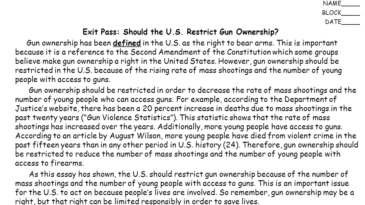 revised law of ownership of handguns essay Associated with the private ownership of firearms, that justifies government   nra has argued that new gun laws are not needed, but rather better  enforcement of existing  in summary, rather than picking one or the other, both  the state and.