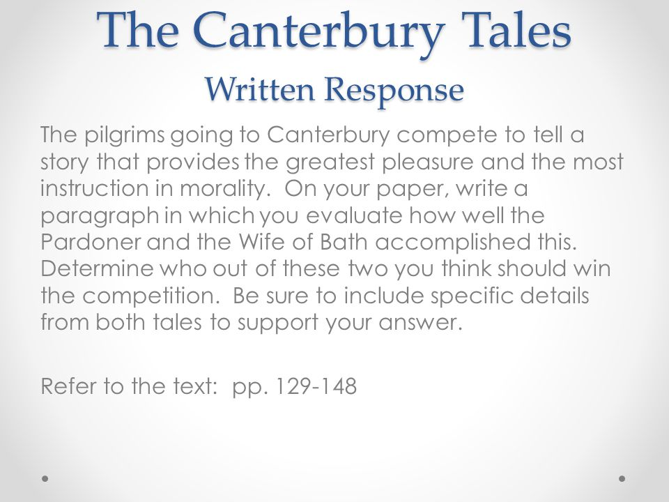 canterbury tales morality paper The canterbury tales is a collection of tales written by geoffrey chaucer published in 1475 the canterbury tales, as a whole, exhibit different social conventions of the fourteenth century.