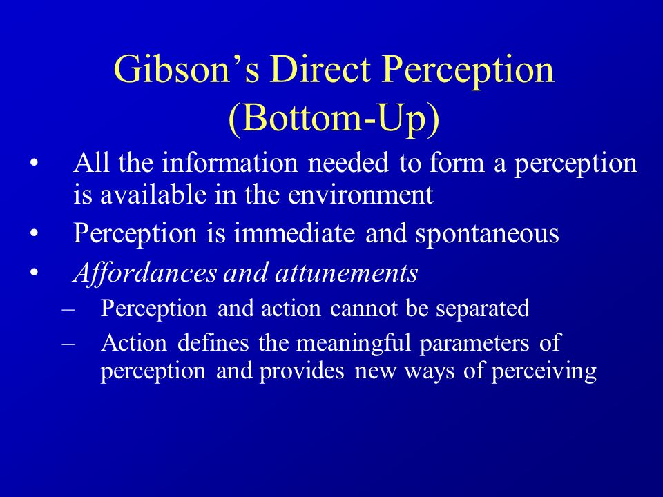 gibson s theory of perception Free essay: compare and contrast gibson's and gregory's theories of perception gibson's and gregory's theories of perception both suggest that eye-retina is.
