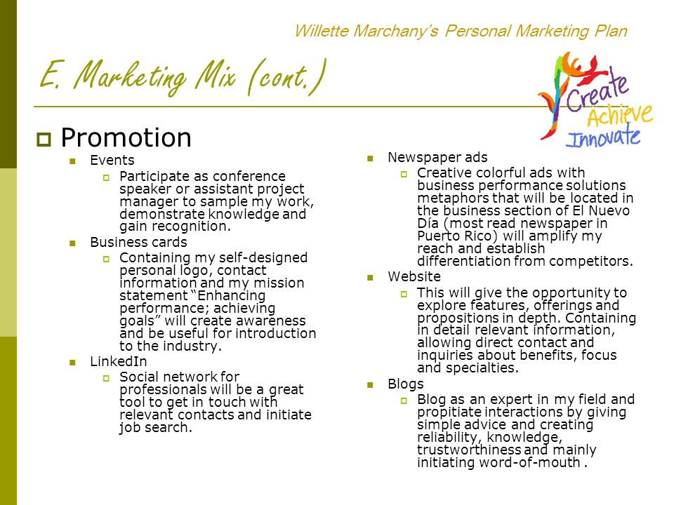 willette marchany u2019s personal marketing plan