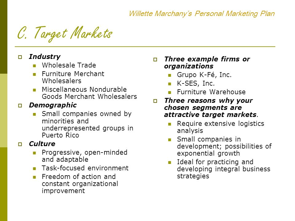 Willette Marchany's Personal Marketing Plan - ppt video online ...