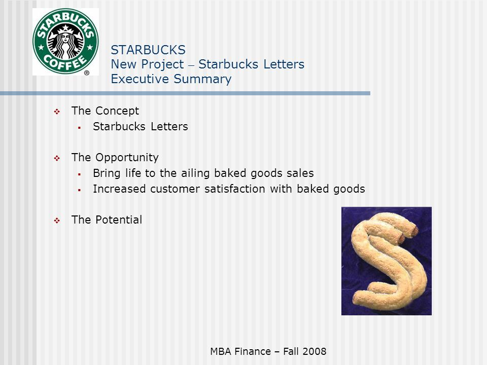 executive summary on starbucks The watertower cafe cafe bistro coffeehouse business plan executive summary the watertower cafe is a start-up restaurant/bistro/coffeehouse, offering food, coffee, and music it is located in atlanta.