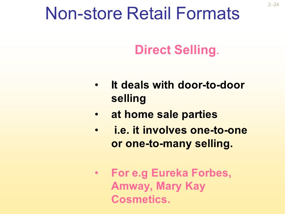 non store retail formats B non-store retailing:  in india around twenty percent of retail sale is from non-store the proportion of non store is growing steadily.