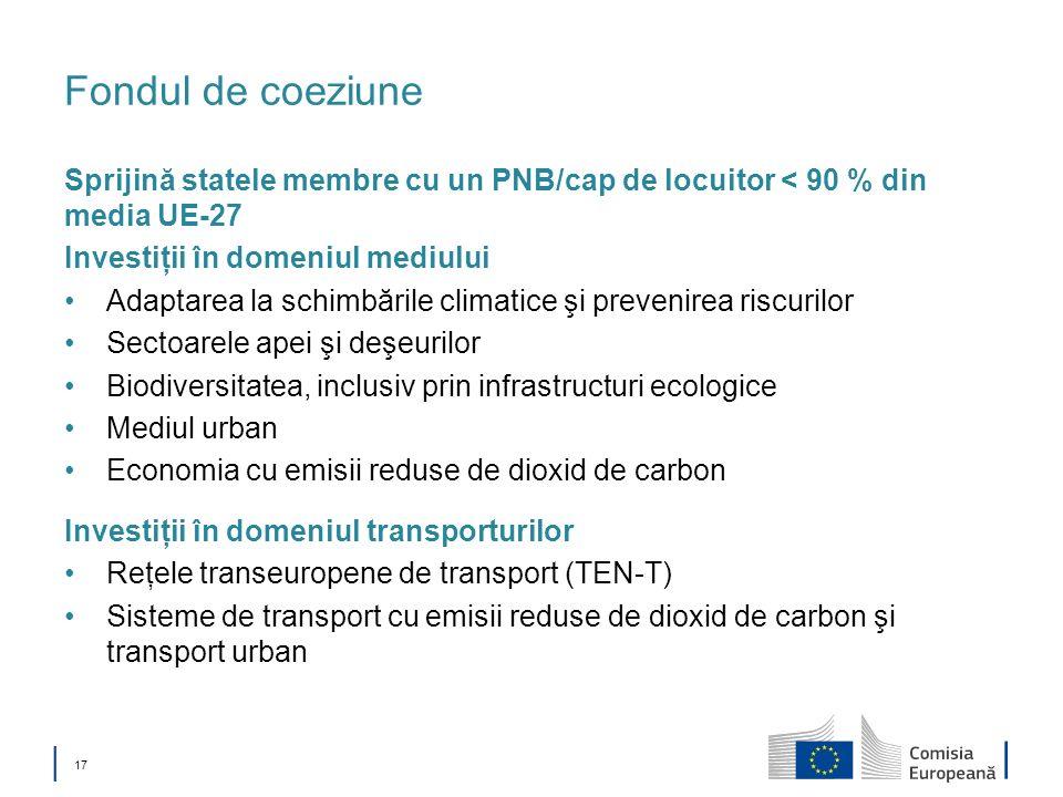 Fondul de coeziune Sprijină statele membre cu un PNB/cap de locuitor < 90 % din media UE-27. Investiţii în domeniul mediului.