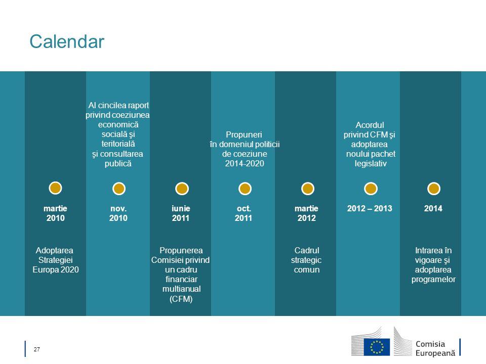 Calendar Al cincilea raport privind coeziunea economică socială şi